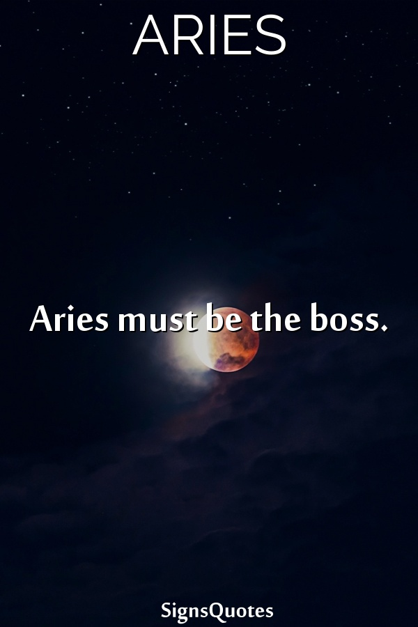 Aries must be the boss.